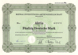 Biewag Investitions-Aktiengesellschaft historic stocks - old certificates