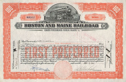 Boston and Maine Railroad -  historic stocks - old certificates Railroads