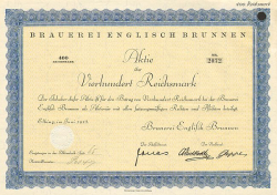 Brauerei Englisch Brunnen  historic stocks - old certificates