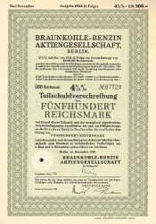 Braunkohle - Benzin Aktiengesellschaft (500 Dezember 1938) -  historic stocks - old certificates Oil and Chemicals