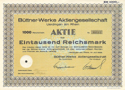 Büttner-Werke Aktiengesellschaft (1000 1929) -  historic stocks - old certificates Engineering