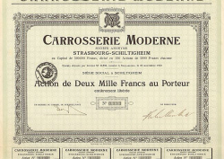 Carrosserie Moderne -  historic stocks - old certificates Automobiles