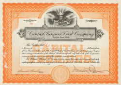 Central Farmers Trust Company -  historic stocks - old certificates Banks and Insurance