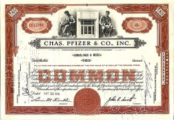 Chas. Pfizer & Co, Inc. (Viagrahersteller) (ausgegangen)  historic stocks - old certificates