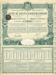 Chemins de Fer l'Ouest de Espagne -  historic stocks - old certificates Railroads