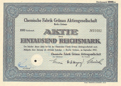 Chemische Fabrik Grünau Aktiengesellschaft (1000) -  historic stocks - old certificates Oil and Chemicals