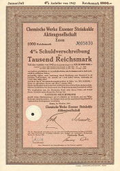 Chemische Werke Essener Steinkohle AG -  historic stocks - old certificates Engineering