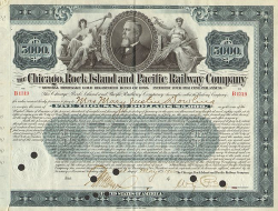 Chicago, Rock Island and Pacific Railway Company (5000.-$ Bond) -  historic stocks - old certificates Railroads