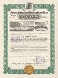 City of Great Falls (Special Improvement District Coupon Bond) historische Wertpapiere - alte Aktien