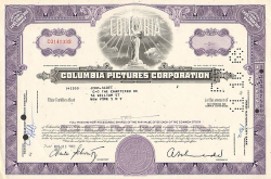 Columbia Pictures Corporation  historic stocks - old certificates