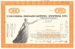 Columbia Broadcasting Systems Inc. (CBS)  historic stocks - old certificates