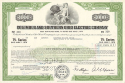 Columbus and Southern Ohio Electric Company  historic stocks - old certificates