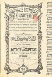 Compagnie Nationale Financière -  historic stocks - old certificates Banks and Insurance