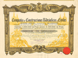 Compania de Construcciones Hidraulicas y Civiles -  historic stocks - old certificates Hotels and Real Estate