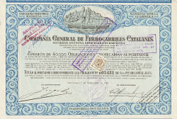 Compania General de Ferrocarriles Catalanes -  historic stocks - old certificates Railroads