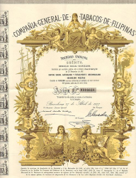 Compania General de Tabacos de Filipinas (mit Kupons) -  historic stocks - old certificates Food and Stimulants