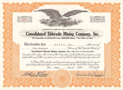 Consolidated Eldorado Mining Company, Inc. -  historic stocks - old certificates Mining