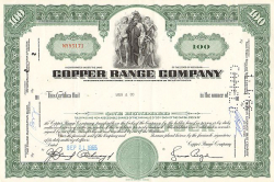 Copper Range Company -  historic stocks - old certificates Mining