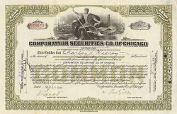 Corporation Securities Co. of Chicago -  historic stocks - old certificates Banks and Insurance
