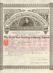 Costa Rica Railway Company  historic stocks - old certificates