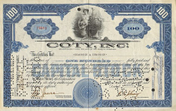 Coty Inc.  historic stocks - old certificates