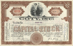 Coty Inc. -  historic stocks - old certificates Pharmacy and Cosmetics