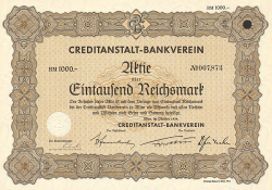 Creditanstalt-Bankverein (1000) -  historic stocks - old certificates Banks and Insurance