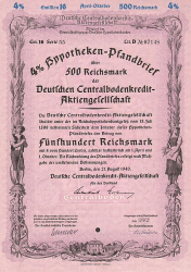 Deutsche Centralbodenkredit-Aktiengesellschaft (500.- RM August 1940 Emission 16) -  historic stocks - old certificates Banks and Insurance