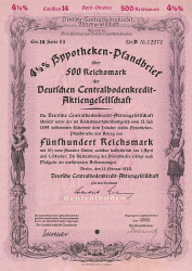 Deutsche Centralbodenkredit-Aktiengesellschaft (500er Februar 1940) -  historic stocks - old certificates Banks and Insurance