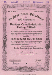 Deutsche Centralbodenkredit-Aktiengesellschaft (500.- RM November 1941 Emission 27) -  historic stocks - old certificates Banks and Insurance