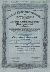Deutsche Centralbodenkredit-Aktiengesellschaft (1937  1000 GM) -  historic stocks - old certificates Banks and Insurance