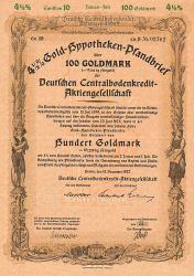 Deutsche Centralbodenkredit-Aktiengesellschaft (1937  100 GM) -  historic stocks - old certificates Banks and Insurance