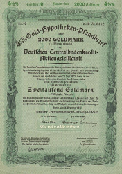 Deutsche Centralbodenkredit-Aktiengesellschaft (1937  2000 GM) -  historic stocks - old certificates Banks and Insurance