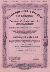 Deutsche Centralbodenkredit-Aktiengesellschaft (1937  500 GM) -  historic stocks - old certificates Banks and Insurance