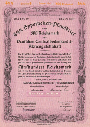 Deutsche Centralbodenkredit-Aktiengesellschaft (1937  500 RM) -  historic stocks - old certificates Banks and Insurance