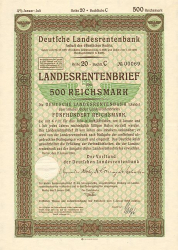 Deutsche Landesrentenbank (Januar 1941  500 RM) -  historic stocks - old certificates Cities and States