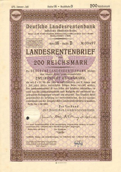 Deutsche Landesrentenbank (200er 1944) -  historic stocks - old certificates Cities and States