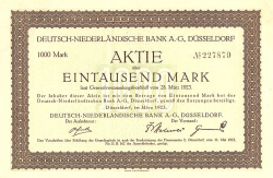 Deutsch-Niederländische Bank AG., Düsseldorf (nicht entwertet) -  historic stocks - old certificates Banks and Insurance
