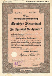 Deutsche Rentenbank (1935  500 Reichsmark) -  historic stocks - old certificates Cities and States