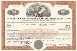 Dillingham Corporation -  historic stocks - old certificates Hotels and Real Estate