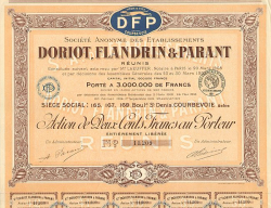 Doriot, Flandrin & Parant (DFP) -  historic stocks - old certificates Automobiles