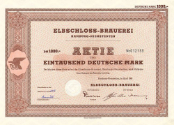 Elbschloss-Brauerei (1960  1000.-DM) -  historic stocks - old certificates Brewery