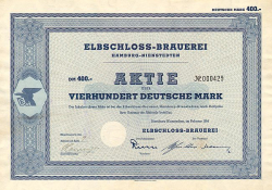 Elbschloss-Brauerei (1954  400.-DM) -  historic stocks - old certificates Brewery