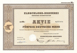 Elbschloss-Brauerei (1967  50.-DM) -  historic stocks - old certificates Brewery