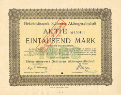 Elektrizitätswerk Schlesien Aktiengesellschaft (1000 April 1923) -  historic stocks - old certificates Utilities and Power Grid