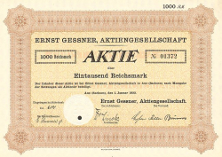 Ernst Gessner, Aktiengesellschaft -  historic stocks - old certificates Engineering