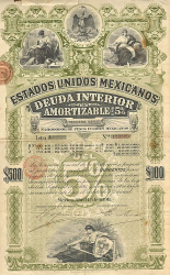 Estados Unidos Mexicanos (United States of Mexico) 1898 500$ -  historic stocks - old certificates Cities and States