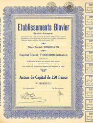 Etablissements Blavier -  historic stocks - old certificates Automobiles