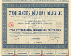 Etablissements Delaunay Belleville -  historic stocks - old certificates Automobiles