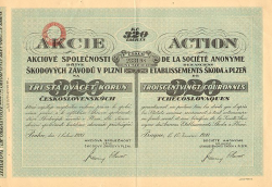 Etablissements Škoda à Plzen -  historic stocks - old certificates Automobiles